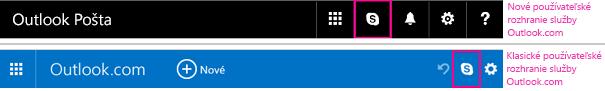 Tlačidlo Skype v novom a starom používateľskom prostredí služby Outlook.com
