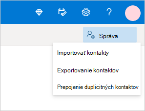 Spravovanie ponuky kontaktov vslužbe Outlook.com