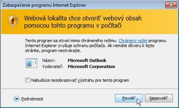 Dialógové okno Zabezpečenie programu Internet Explorer