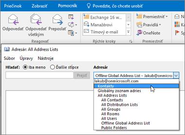 Kontakty po importovaní z Gmailu nájdete v službách Office 365 výberom položky Adresár