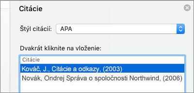 Tabla Citácie so zoznamom citácií.