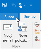 Snímka obrazovky s ponukou Súbor v Outlooku 2016