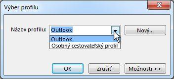 Dialógové okno Výber profilu programu Outlook