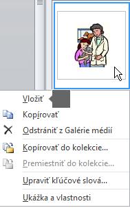 Ak chcete vložiť obrázok, kliknite pravým tlačidlom myši na miniatúru avyberte možnosť Vložiť.