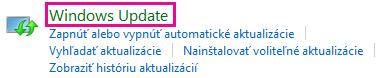 Prepojenie Windows 8 Windows Update v ovládacom paneli