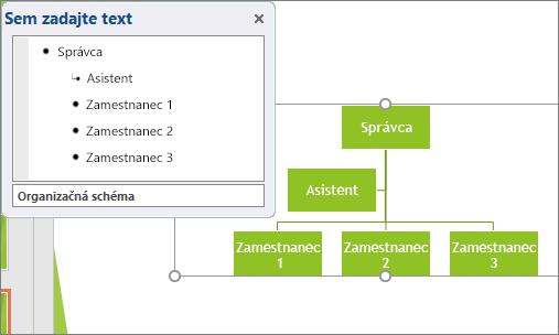 Zobrazí sa príklad organizačnej schémy SmartArt