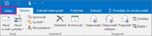 Ako vyzerá pás s nástrojmi v Outlooku 2016