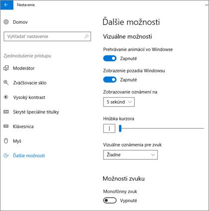 Zjednodušenie prístupu, tabla Ďalšie možnosti v nastavení Windowsu 10