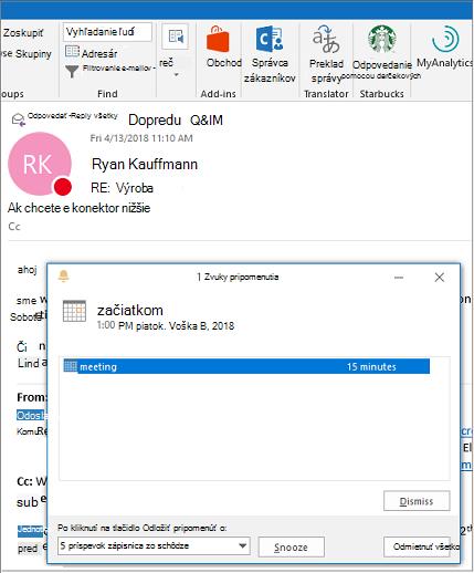 Dialógové okno pripomenutia v hornej časti e-mailovej správy programu Outlook