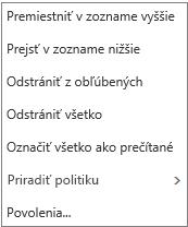 Kontextová ponuka, ktorá sa zobrazí po kliknutí pravým tlačidlom myši na priečinok doručenej pošty vaplikácii Pošta