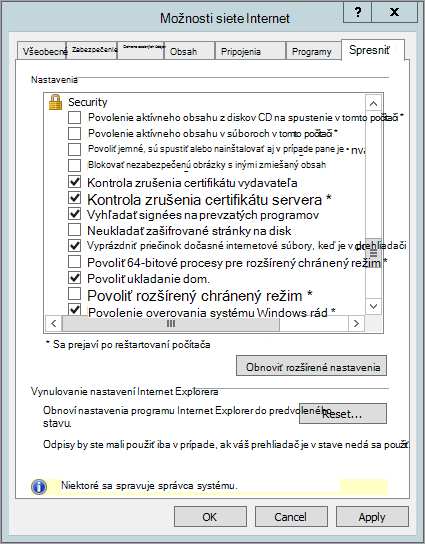 Možnosti zabezpečenia Internet Explorera