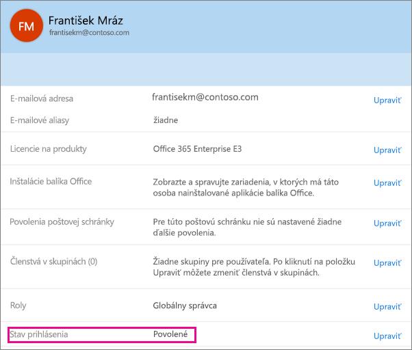 Snímka obrazovky s používateľom stavu prihlásenia v službách Office 365