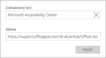 Pridajte text hypertextového prepojenia.
