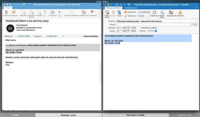 správy vedľa seba v zobrazení na celú obrazovku v Outlooku