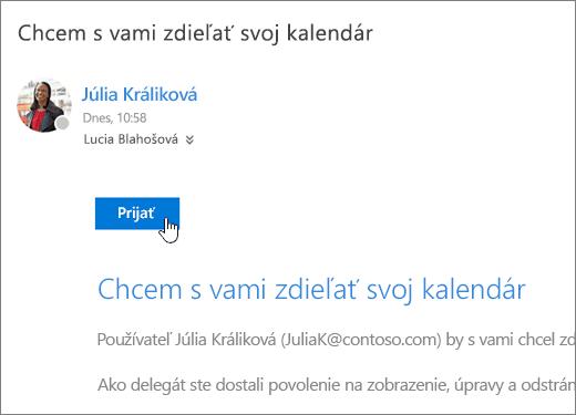 Snímka obrazovky s pozvánkou na zdieľanie kalendára.