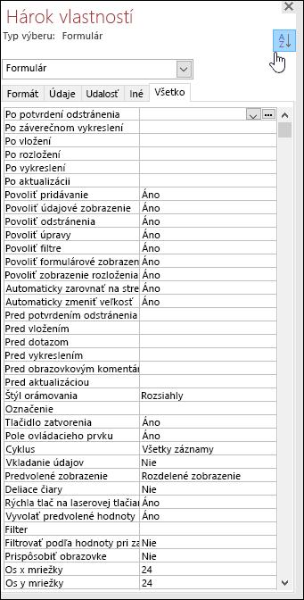 Snímka obrazovky hárka vlastností Accessu so zoradenými vlastnosťami podľa abecedy