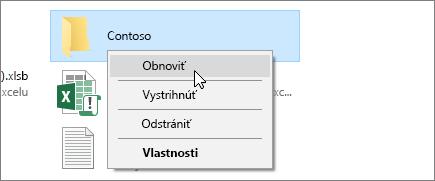 Snímka obrazovky zobrazujúca možnosť Obnoviť vKoši vo Windowse.