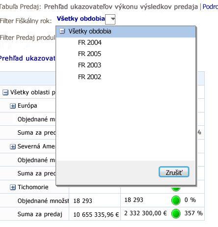 Filter so zobrazeným ovládacím prvkom zoznamu