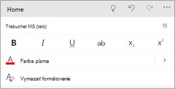 Ponuka písmo v PowerPointe pre telefóny s Windowsom.