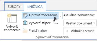 Pás s nástrojmi knižnice SharePointu Online kartu upraviť možnosť zobrazenia