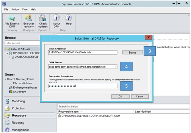 Provide the encryption passphrase associated with the DPM server