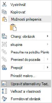 Excel Win32-úprava ponuky alternatívny text pre obrázky