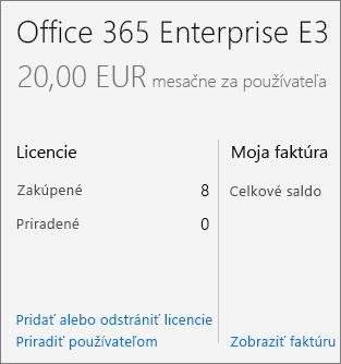 Prepojenie Pridať alebo odstrániť licencie na stránke Predplatné.