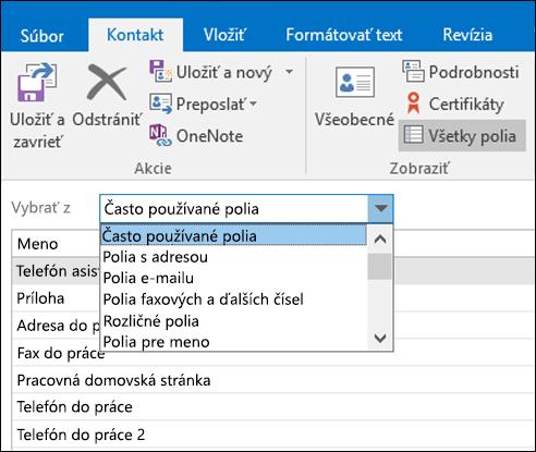 Vyberte všetky polia na zadanie informácií v tabuľkovom formáte.