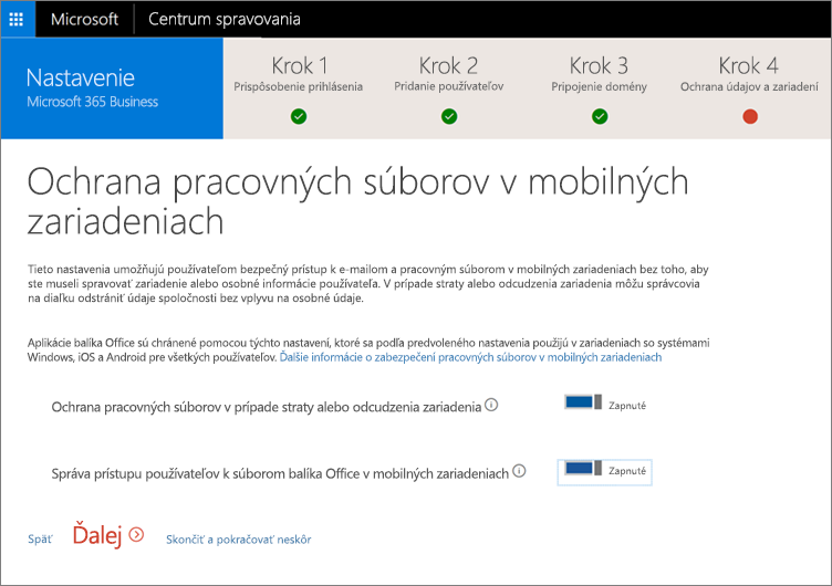 Snímka obrazovky zobrazujúca stránku ozabezpečení pracovných súborov vmobilných zariadeniach