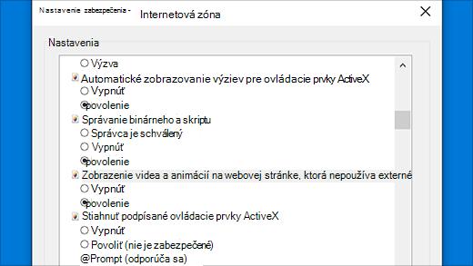Nastavenia zabezpečenia: ovládacie prvky ActiveX v Internet Exploreri