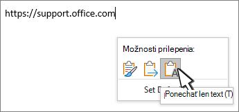 Prilepenie rozbaľovacieho zoznamu s kurzorom myši na text