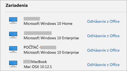 Zobrazuje zariadenia s Windowsom a Macom a prepojenie Odhlásiť sa z Office na lokalite account.microsoft.com