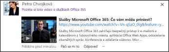 Video z lokality YouTube vložené do príspevku informačného kanála s aktualizáciami