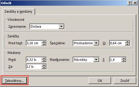 Dialógové okno Odsek.