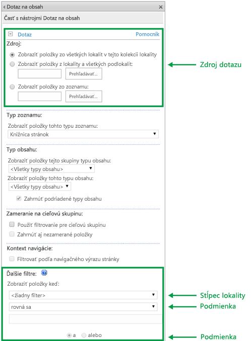 Konfigurácia dotazu vo webovej časti Dotaz na obsah