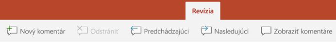 Karta Revízia na páse s nástrojmi v PowerPointe v tabletoch s Androidom obsahuje tlačidlá na používanie komentárov.