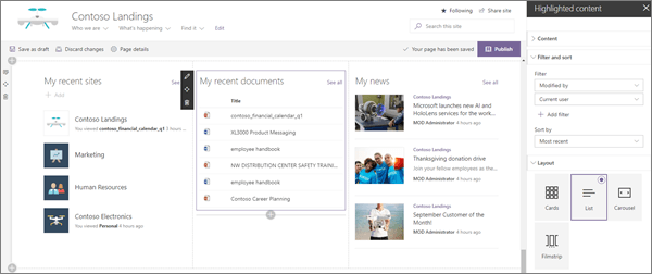 Ukážka prispôsobených vstupných webových častí pre modernú podnikovú cieľovú lokalitu v SharePointe Online
