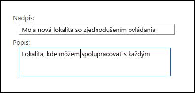 Dialógové okno nadpisu novej lokality v SharePointe Online