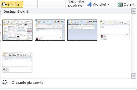 Príkaz Vložiť snímku obrazovky