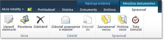 Správa pás s nástrojmi súpravy dokumentov