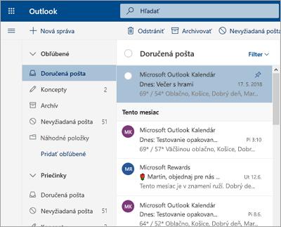 Snímka obrazovky priečinka doručenej pošty s vypnutou možnosťou Prioritná doručená pošta