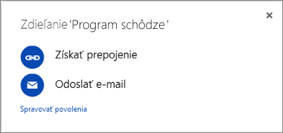 Snímka obrazovky s dialógovým oknom Zdieľať