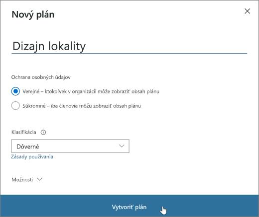Snímka obrazovky soknom Nový plán.
