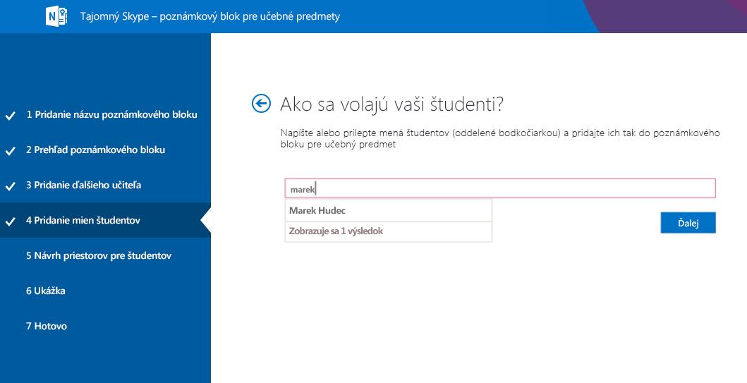 Pridanie študentov do aplikácie Mystery Skype