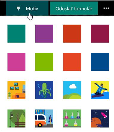 Galéria farieb motívov pre formuláre a kvízov