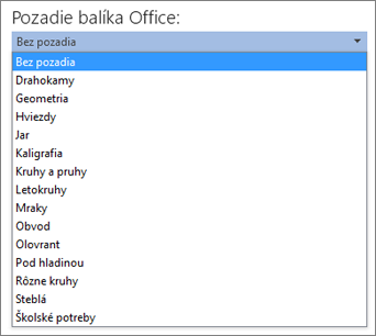 Zoznam Pozadie balíka Office v programoch balíka Office 2013