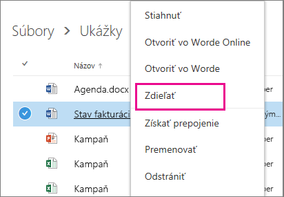Snímka obrazovky zdieľania dokumentu kliknutím pravým tlačidlom myši a výberom položky Zdieľať