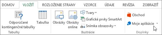 Snímka obrazovky s časťou karta Vložiť na páse s nástrojmi programu Excel s kurzorom ukazujúcim na moje aplikácie. Vyberte položku Moje aplikácie k aplikáciám prístup pre program Excel.