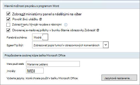 Obľúbené možnosti programu Word 2007