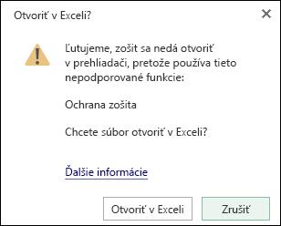 Dialógové okno pri otvorení zošita chráneného heslom v Exceli pre web